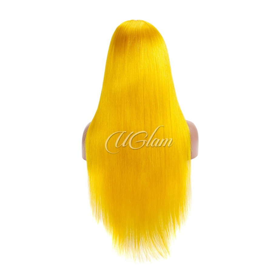 Uglam Hair Machine-Made Wigs Golden Yellow Straight Made By Hair Weave With 4x4 Lace Closure
