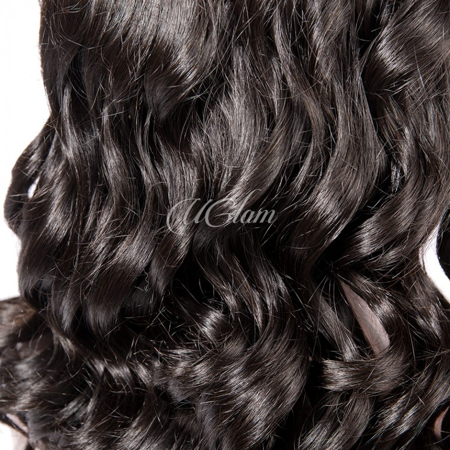 Uglam Hair Machine Wigs Big Curl Hair Weave With 4x4 Lace Closure 220% Density