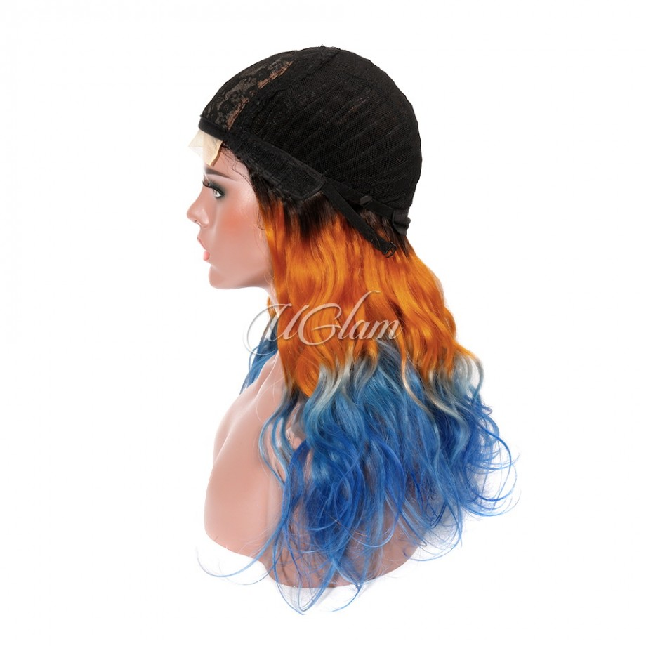 Uglam Machine Wigs Body Wave Ombre Orange to Light Blue Hair Weave With 4x4 Lace Closure