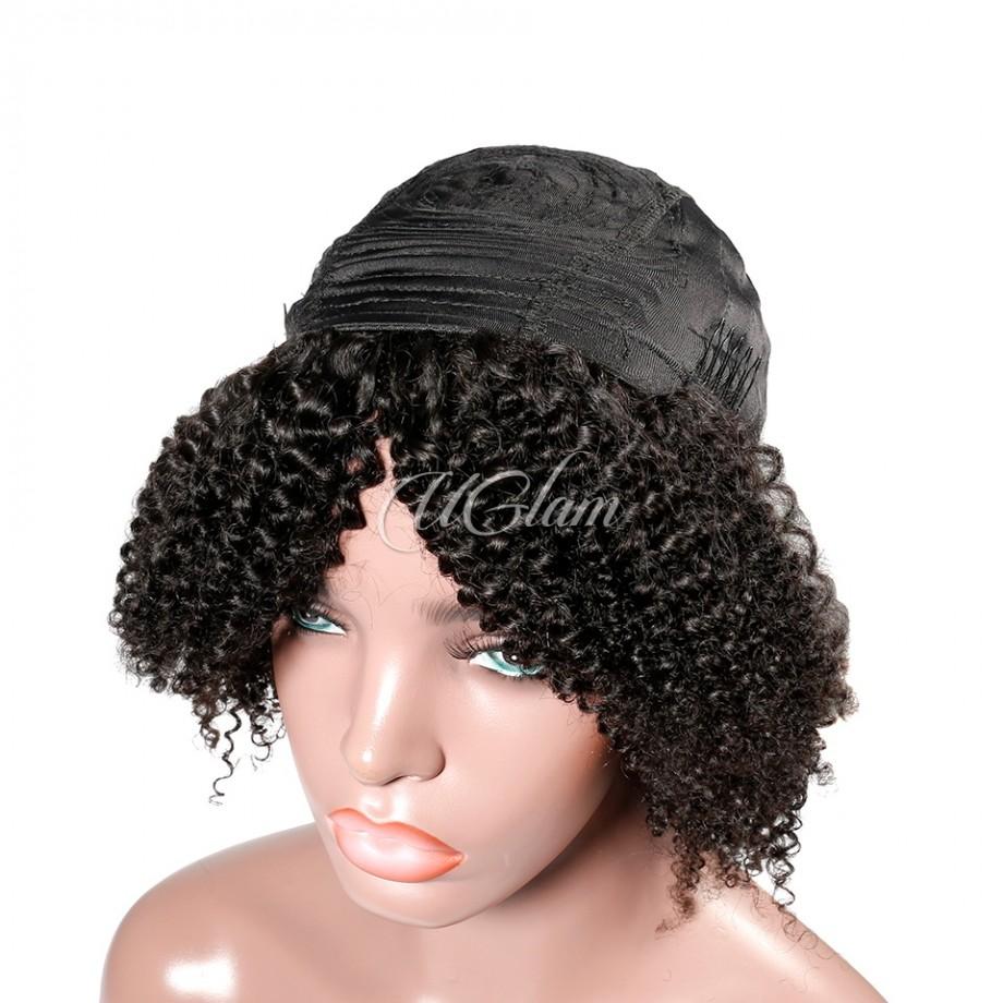 Uglam Hair Machine Wigs Kinky Curly For Women
