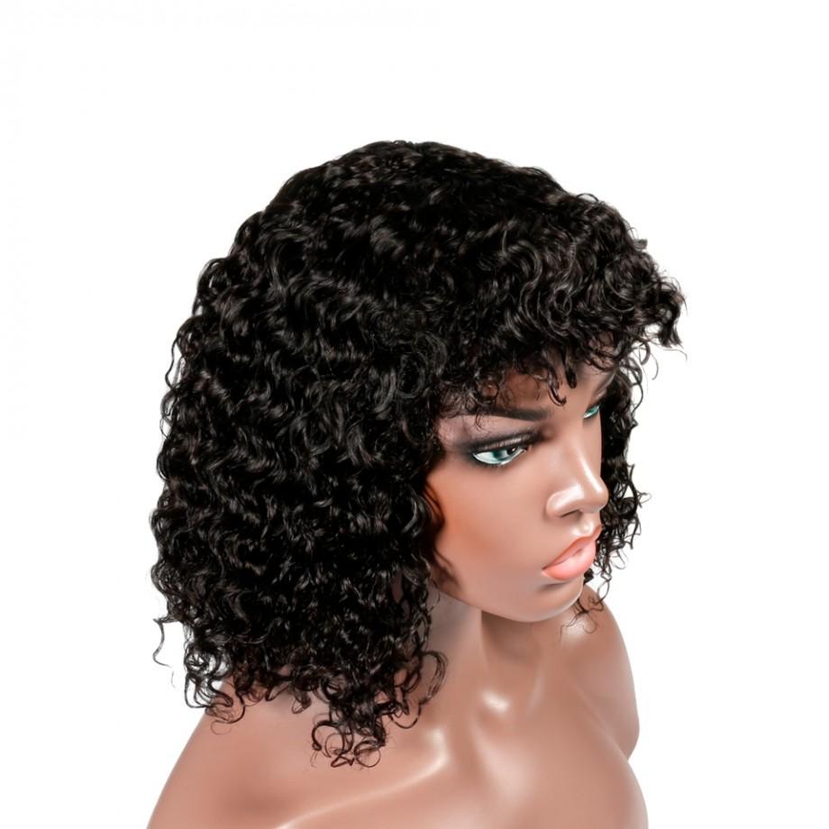 Uglam Bob Machine Made Wigs Deep Wave With Bang Hair