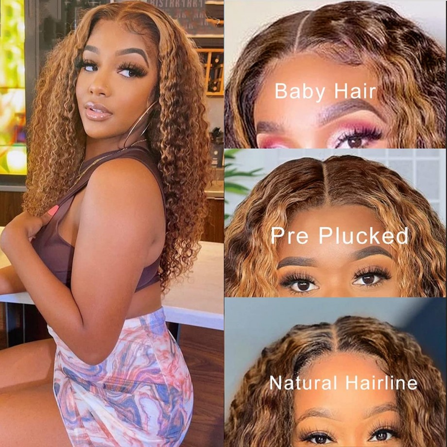 Uglam 13X4 Lace Front Piano Color Highlight #4/27 Deep Wave Wig