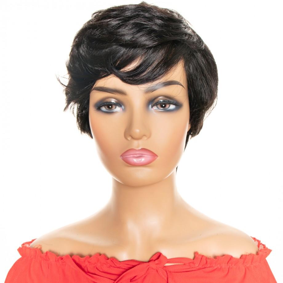 Uglam Pixie Cut Wavy Human Hair Machine Made Wig