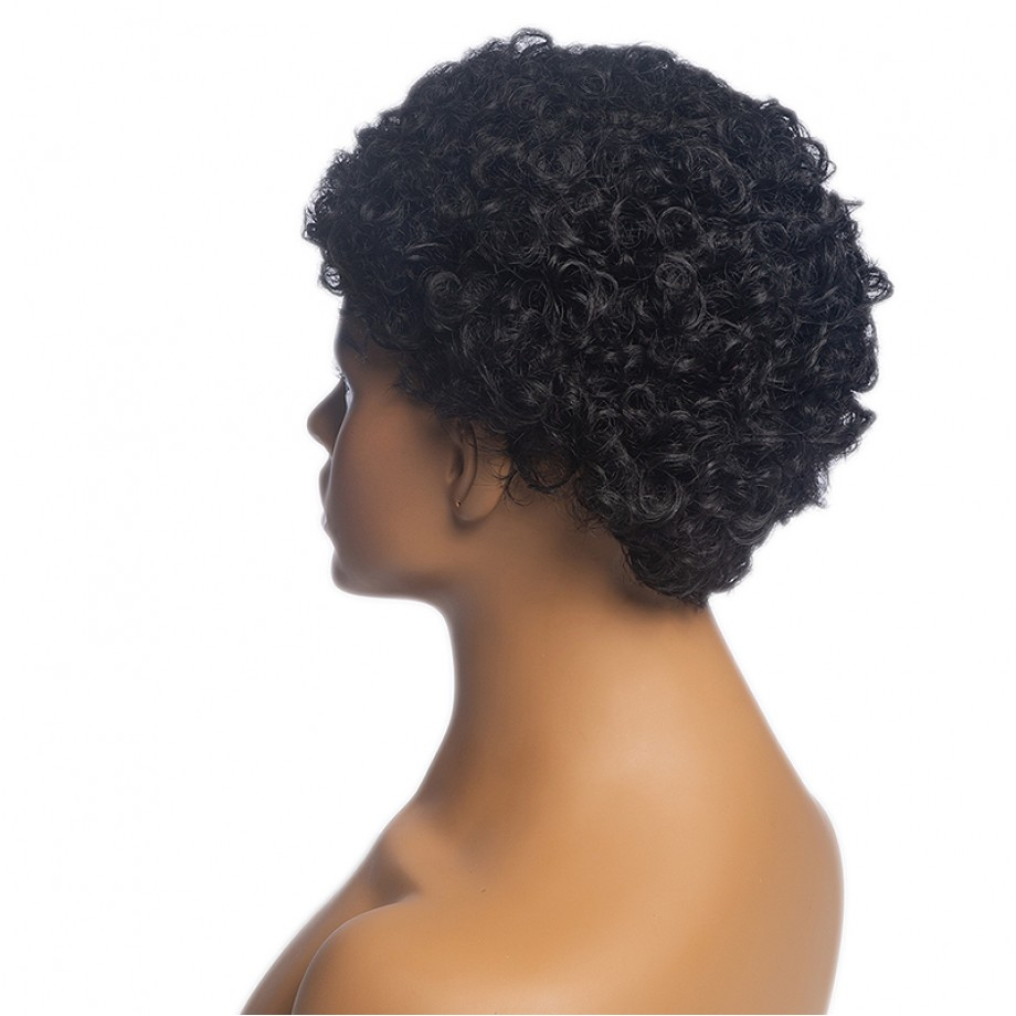 Uglam Pixie Cut Human Hair Machine Made Wig Afro Kinky Curl