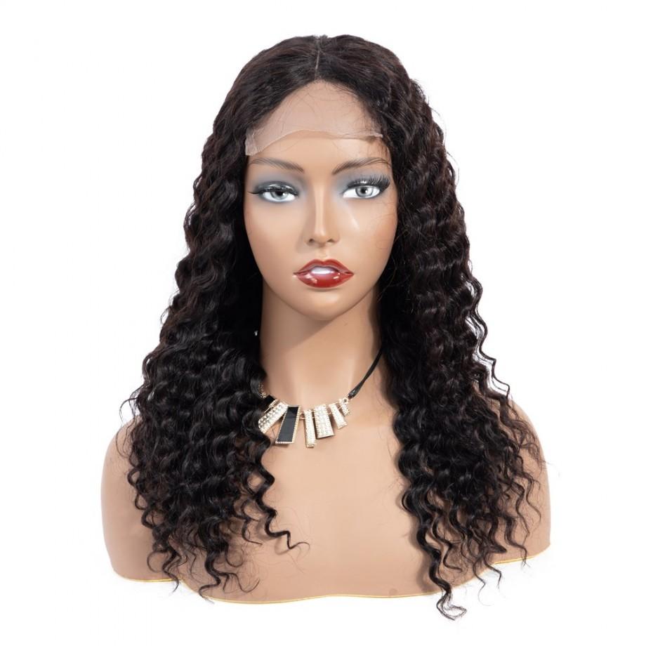 Uglam 4X4/5X5 Transparent Lace Closure Wig Deep Wave