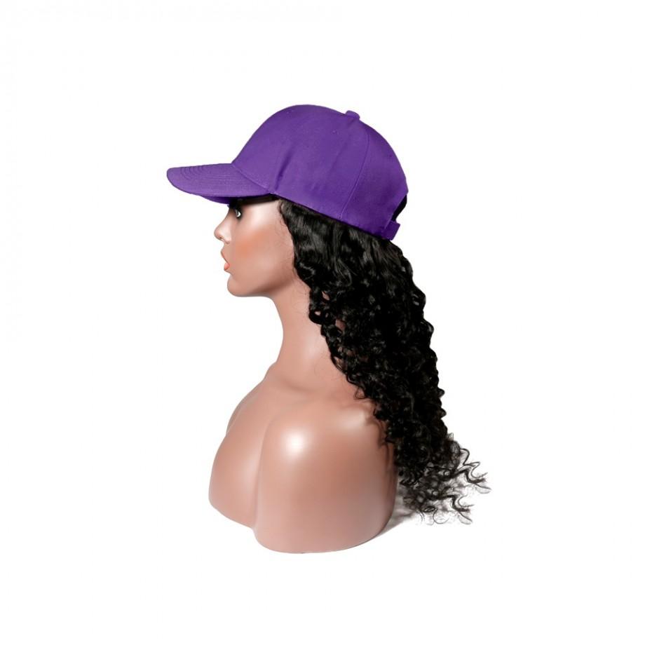 Uglam Cap Wigs Deep Wave Humanhair