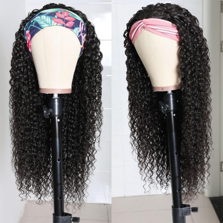 Uglam Headband Wigs Deep Wave No PrePlucked Hairline