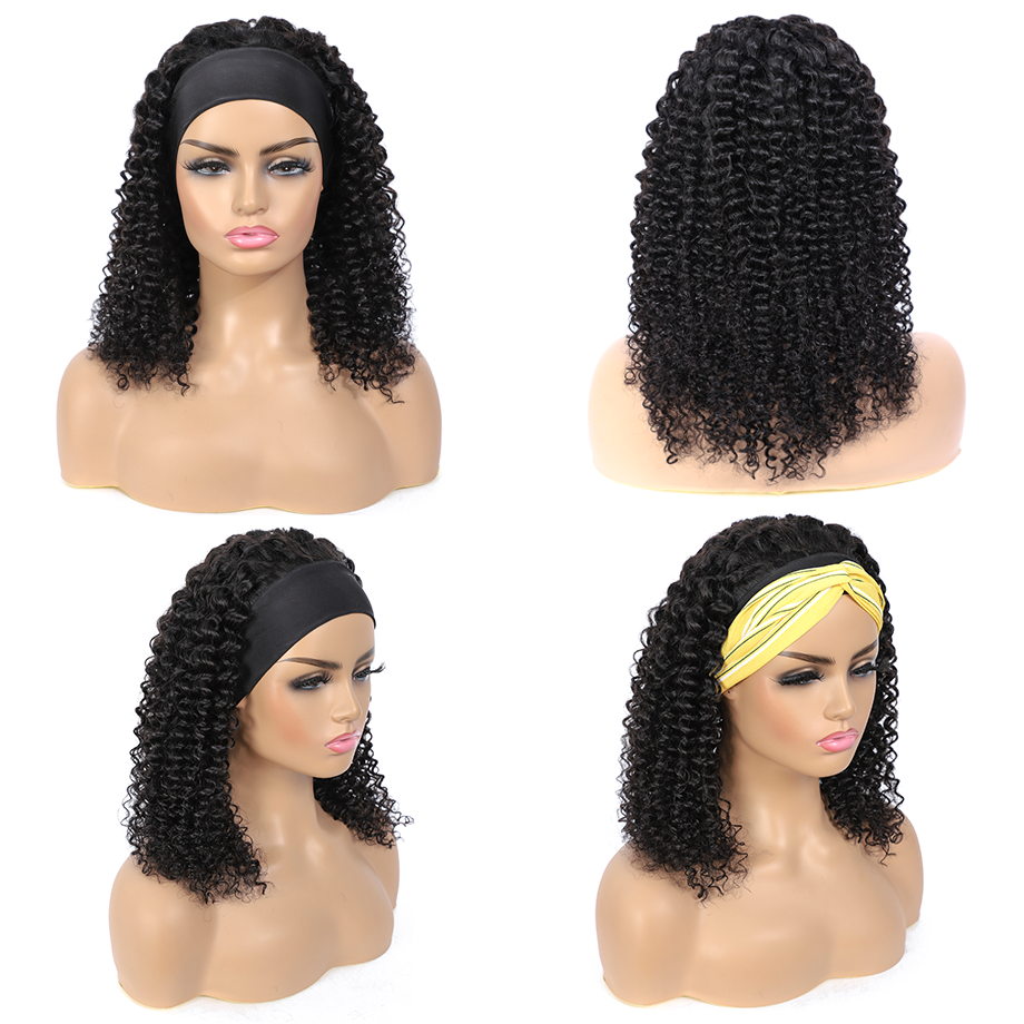 Uglam Headband Wigs Kinky Curly No PrePlucked Hairline
