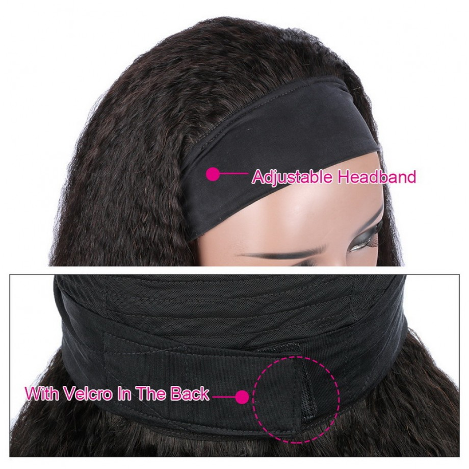 Uglam Headband Wigs Kinky Straight No PrePlucked Hairline