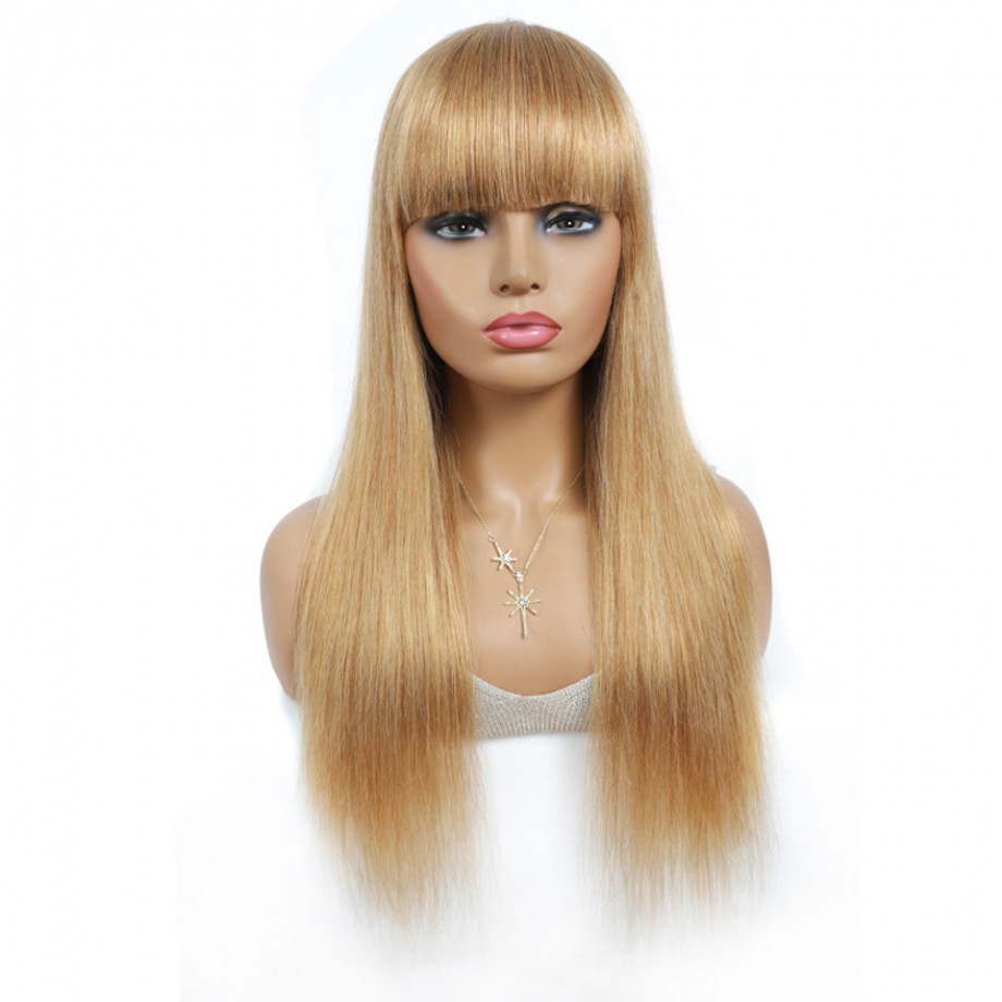 Uglam #27 Color Machine Made Wigs Straight With Bang