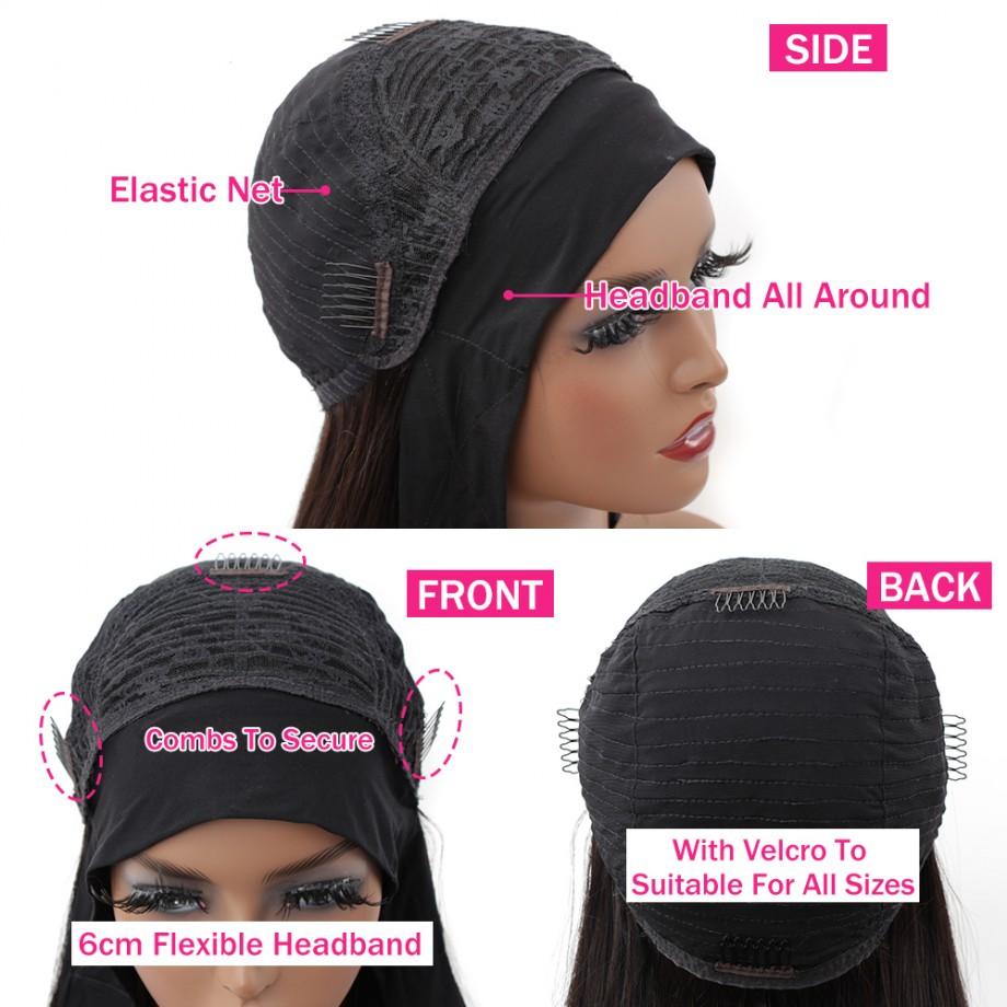 Uglam Headband Wigs Body Wave No PrePlucked Hairline