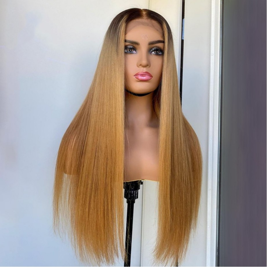 Uglam Lace Front Wigs 1B/27 Ombre Color Straight Hair