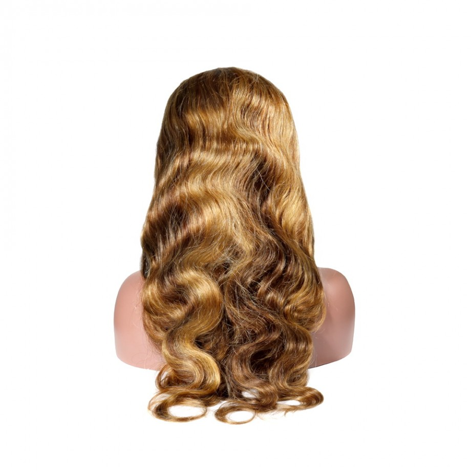 Uglam 13X4 Lace Front Piano Color Highlight #4/27 Body Wave Wig