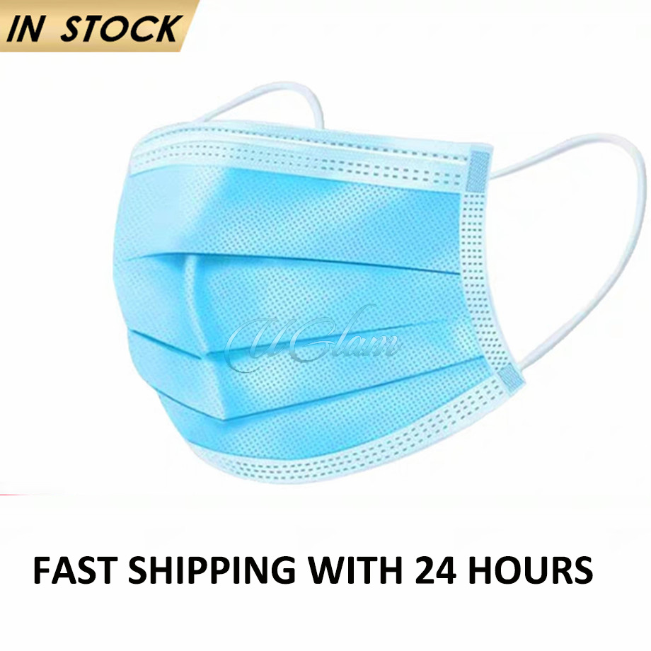 Face Mask Anti-Virus Mouth Masks 3-Ply PM2.5 Non Woven Disposable Anti-Dust Ship In 24 Hours For Stylists
