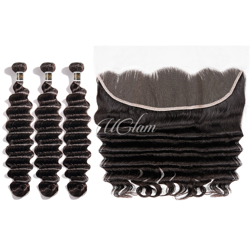Uglam Bundles With 13x4 Lace Frontal Closure Indian Loose Deep