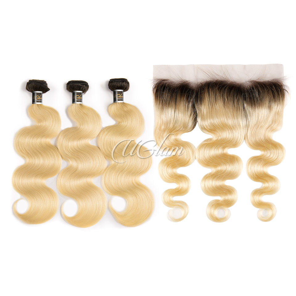 Uglam Hair Bundles With 13x4 Lace Frontal Black Root And #613 Color Body Wave
