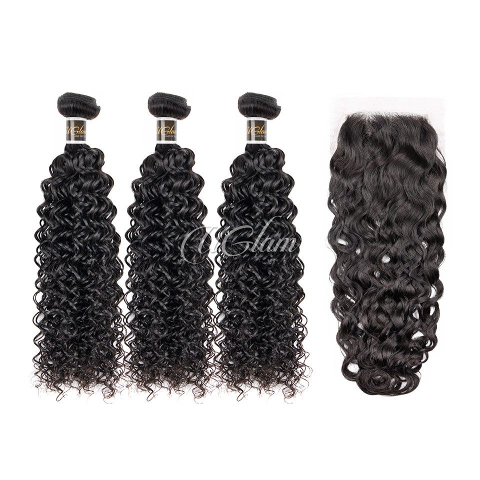 Uglam Hair Bundles With Closure 4x4 Lace Closure Malaysian Water Wave