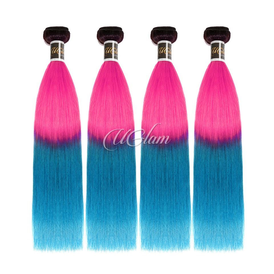 Uglam Hair 1B Ombre Pink and Blue Color Straight Bundles Deal
