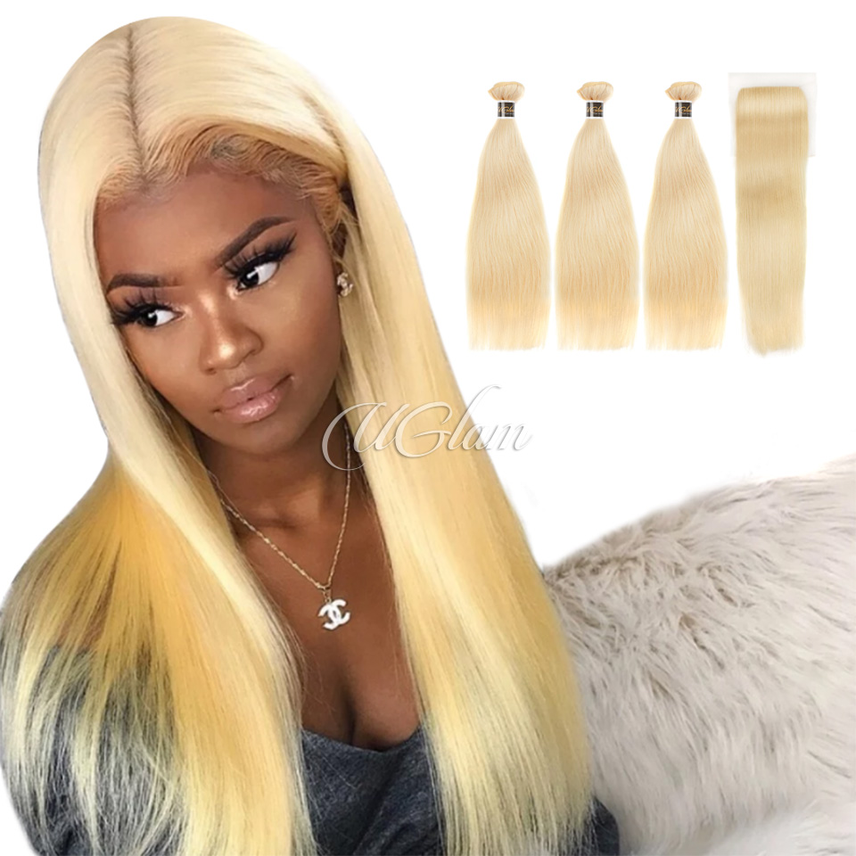 Uglam Hair Bundles With 4x4 Lace Closure Blonde #613 Color Straight
