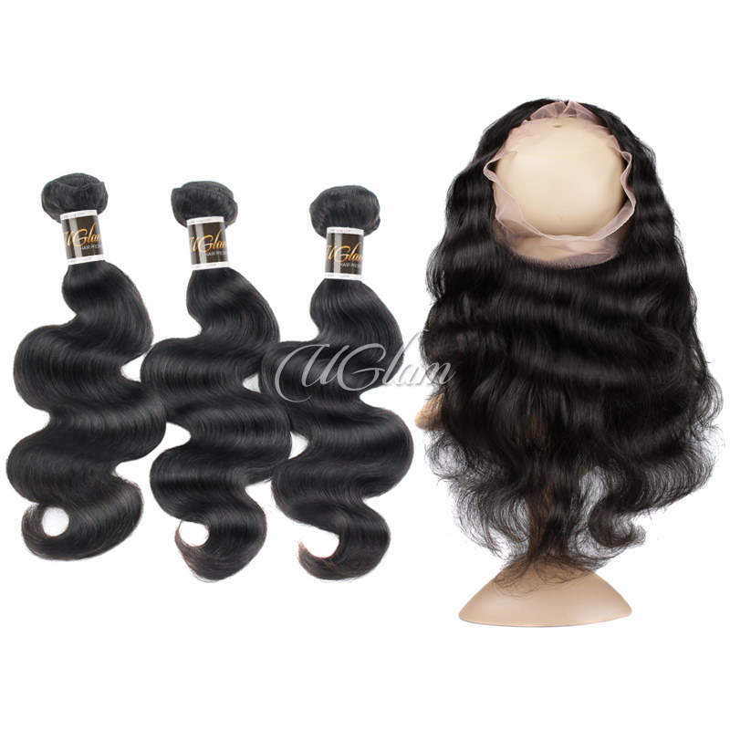 Uglam Hair Bundles With 360 Lace Frontal Closure Malaysian Body Wave