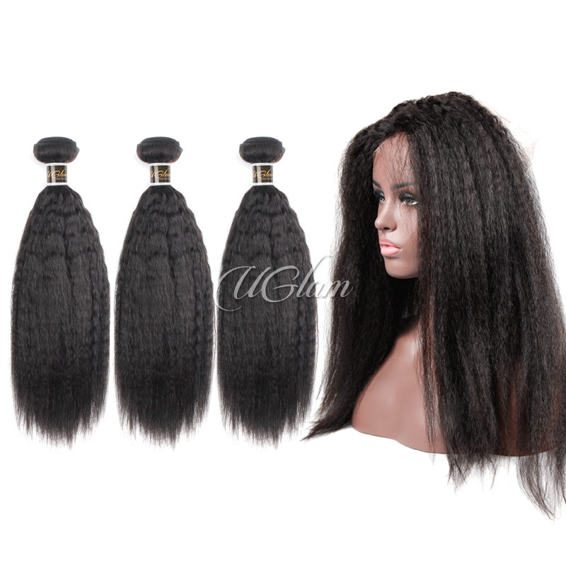 Uglam Hair Bundles With 360 Lace Frontal Closure Mongolian Kinky Straight Sexy Formula