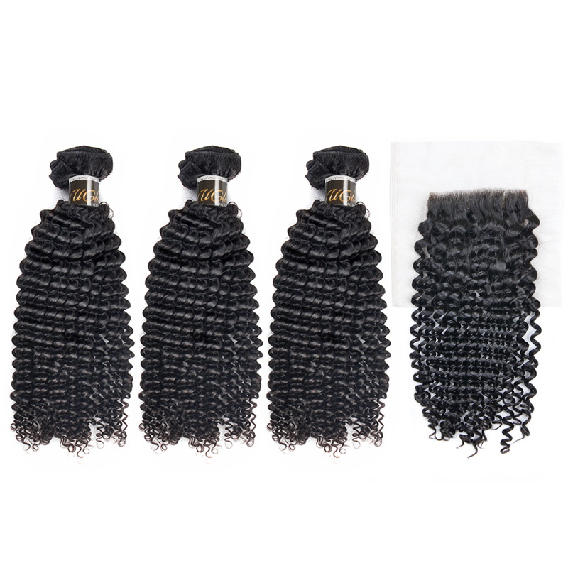 Uglam Virgin Hair Bundles With 4x4 Lace Closure Kinky Curly Sexy Formula