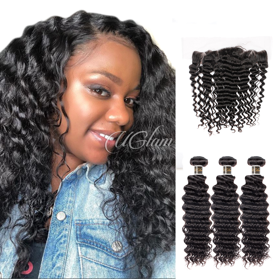 Uglam Hair 13x4 Lace Front Closure With Bundles Brazilian Nature Wave Sexy Formula