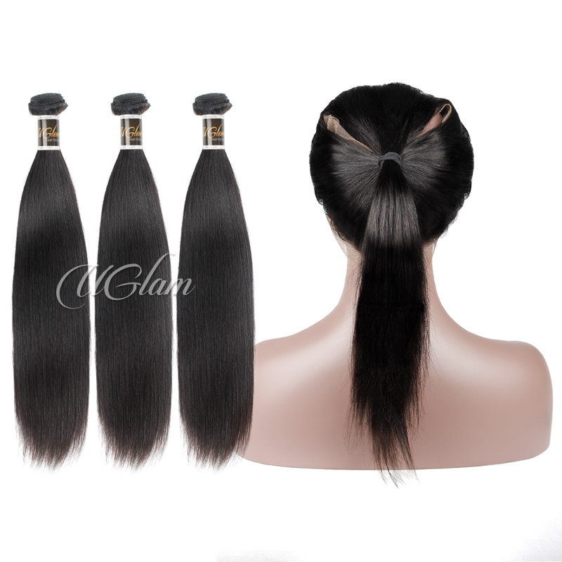 Uglam Hair Bundles With 360 Lace Frontal Closure Indian Straight