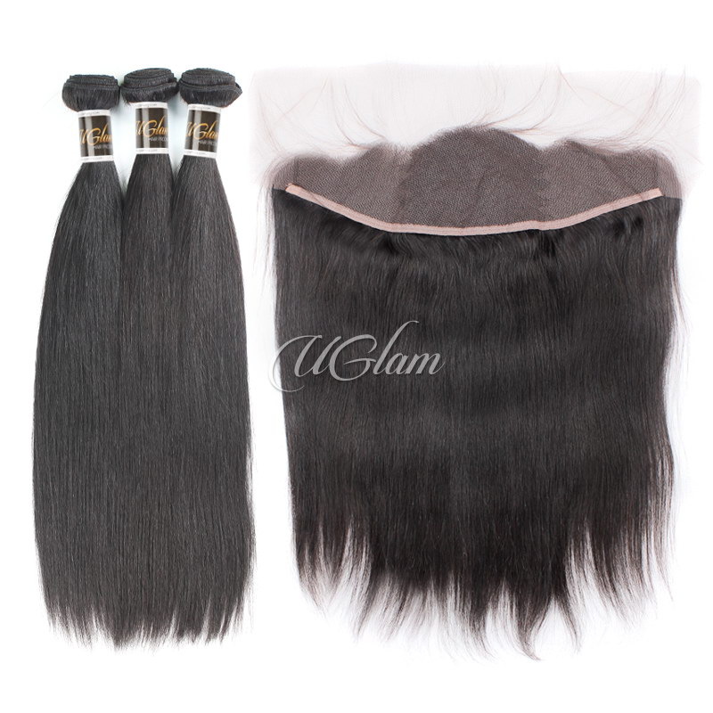 Uglam Hair Bundles With 4x13 Lace Frontal Closure Brazilian Straight