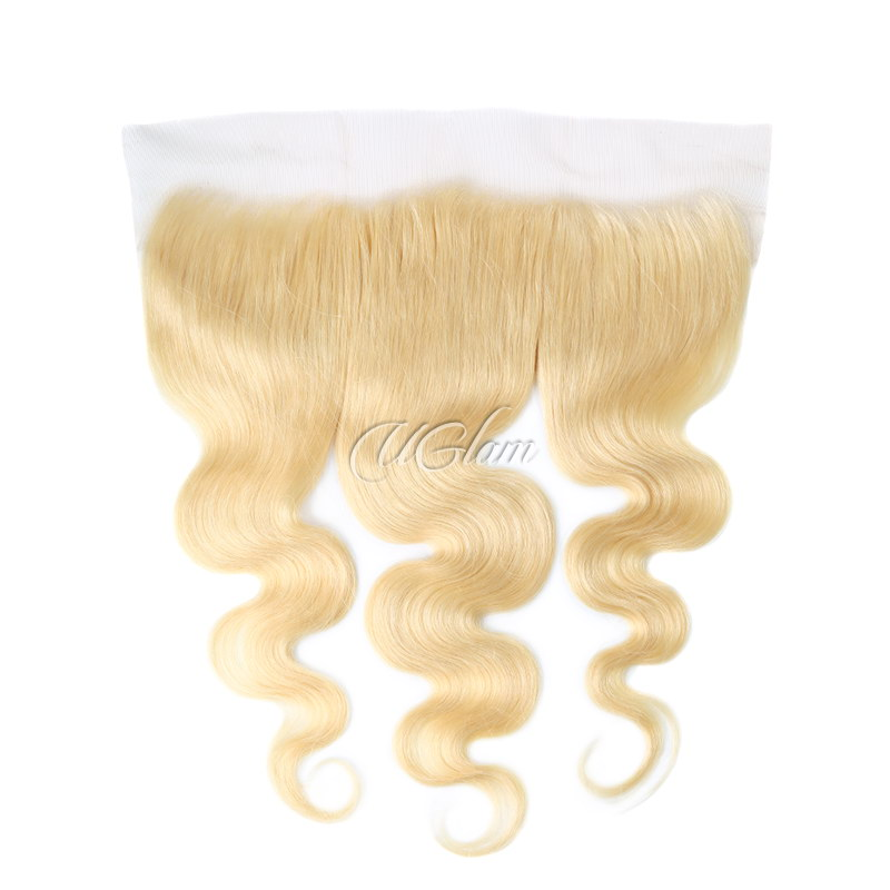 Uglam Hair 4x13 Swiss Lace Frontal Closure Blonde #613 Color Body Wave