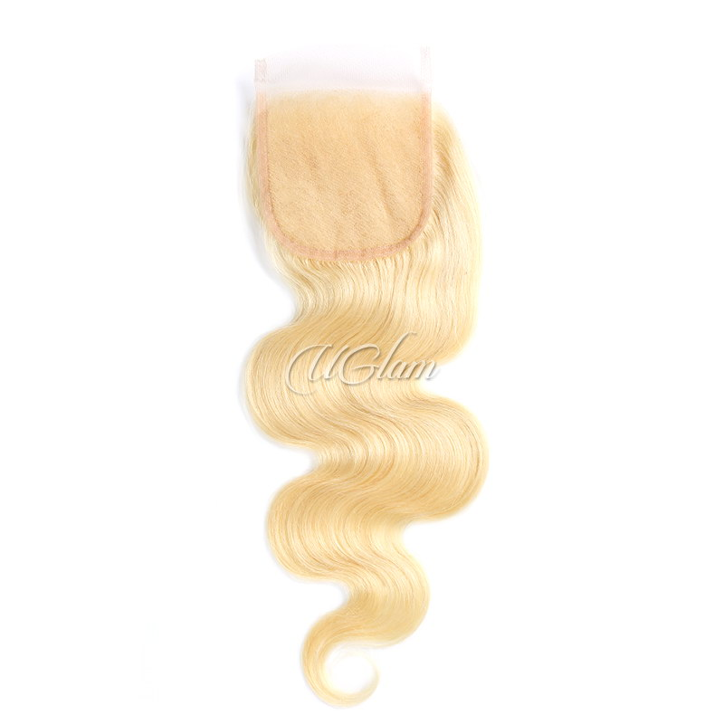 Uglam Hair 4x4 Swiss Lace Closure Blonde #613 Color Body Wave
