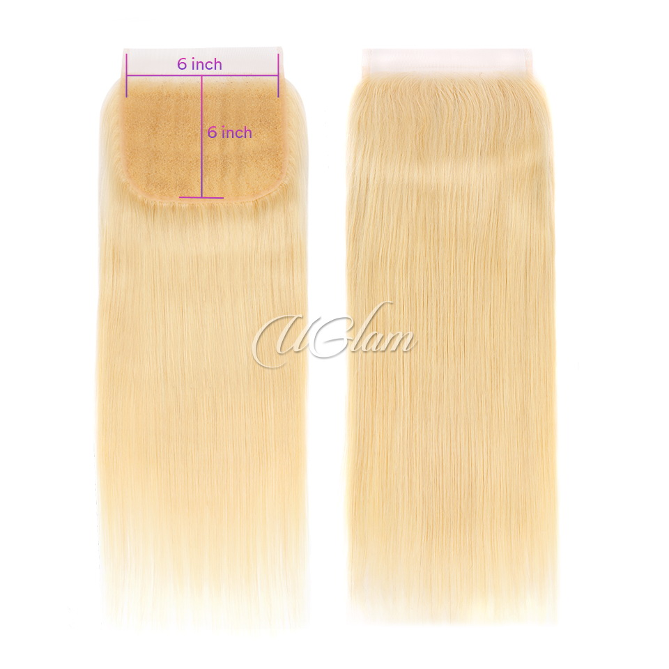 Uglam Hair 6x6 Swiss Lace Closure Blonde #613 Color Straight
