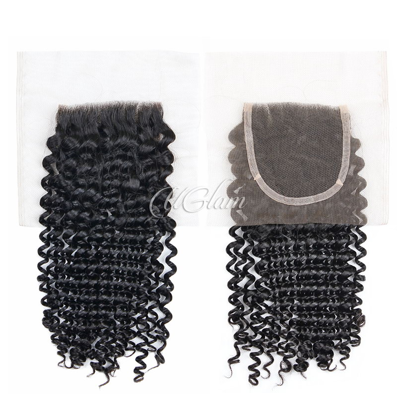 Uglam Hair 4x4 Swiss Lace Closure Mongolian Kinky Curly Sexy Formula