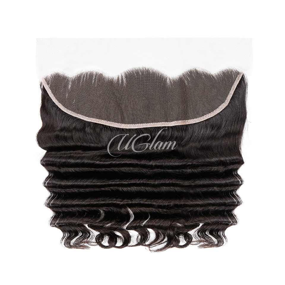 Uglam Hair 13x4 Swiss Lace Frontal Closure Malaysian Loose Deep