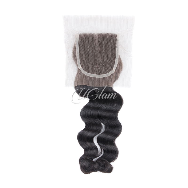 Uglam Hair 4x4 Swiss Lace Closure Brazilian Loose Wave