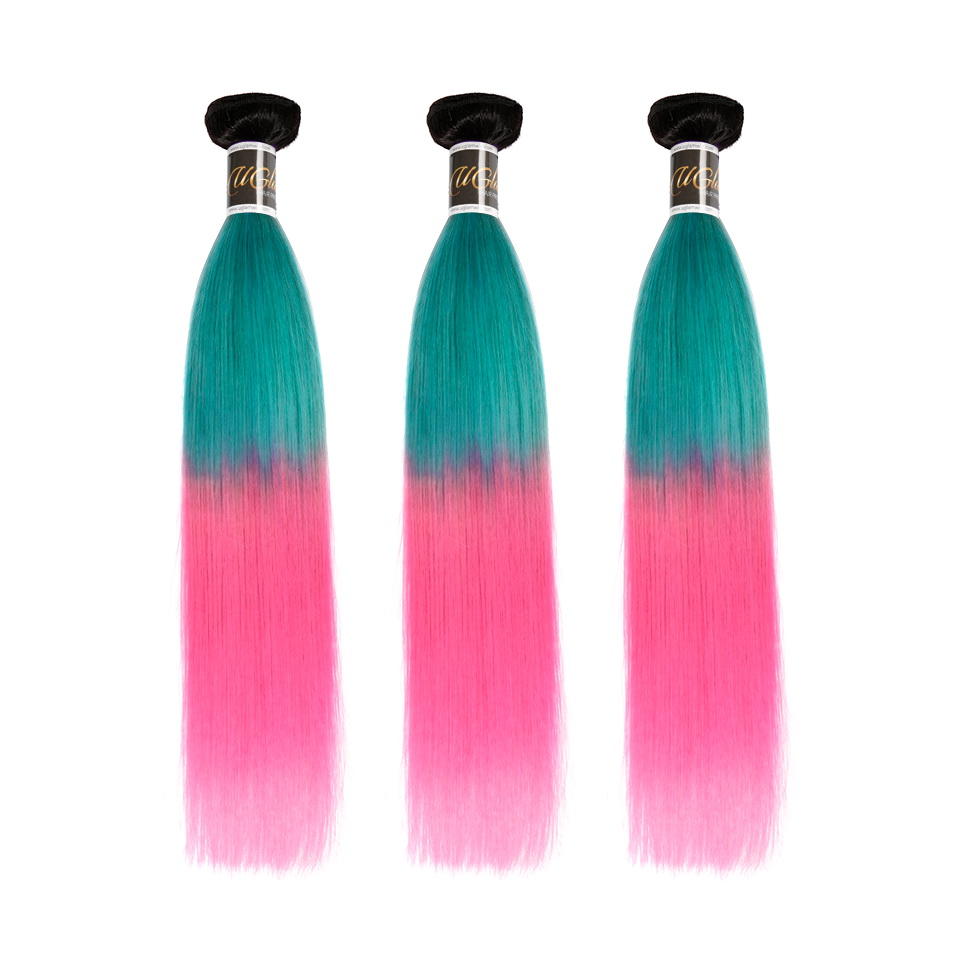 Uglam Ombre Blue Coral and Baby Pink Color Straight Bundles Deal