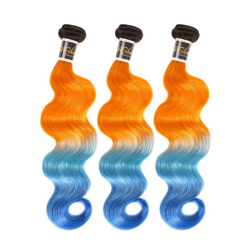 Uglam Ombre Bright Orange and Azure Blue Color Body Wave Bundles Deal