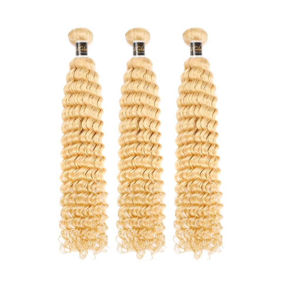Uglam Hair Honey Blonde #613 Color Deep Wave Bundles Deal