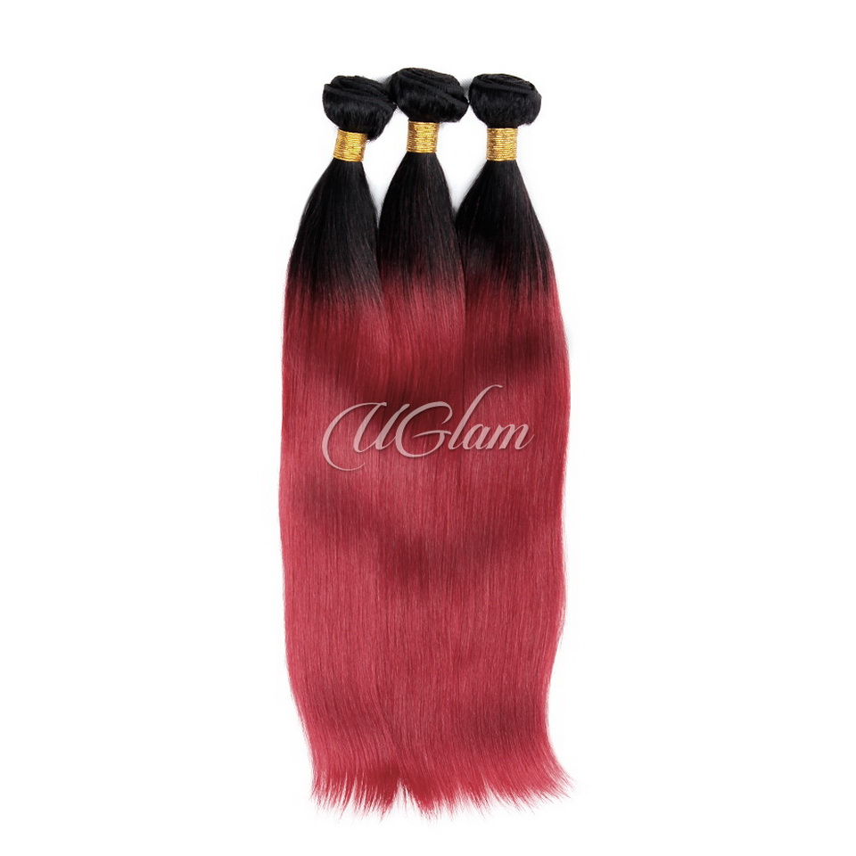 Uglam Ombre Hair Black Root And Red Straight Bundles Deal
