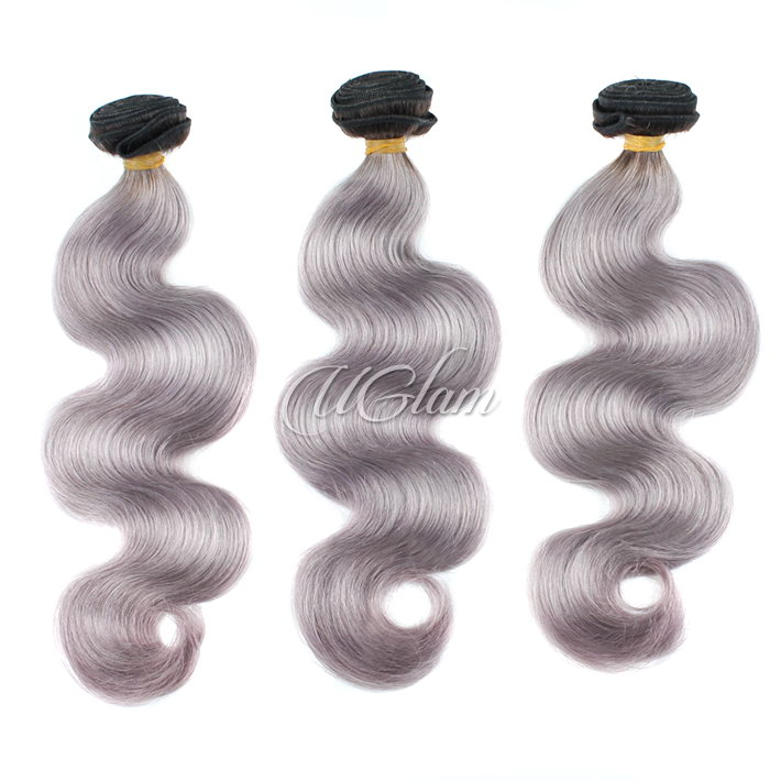 Uglam Hair Ombre Hair Black Sliver Grey hair #88 Bundles Deal