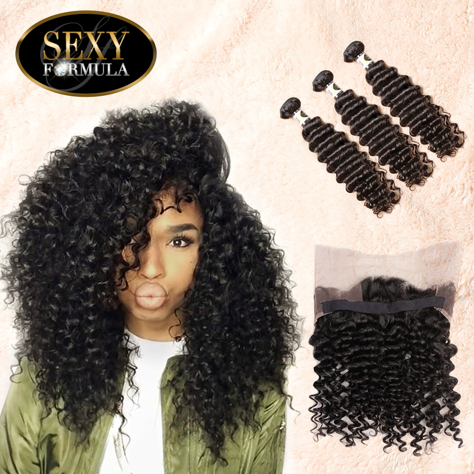 Uglam Hair 360 Lace Front Closure With Bundles Malaysian Deep Wave Curly Sexy Formula