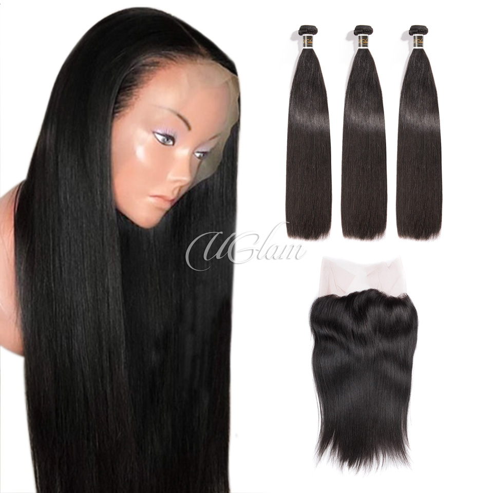 Uglam 360 Lace Front Closure With Bundles Indian Straight Sexy Formula