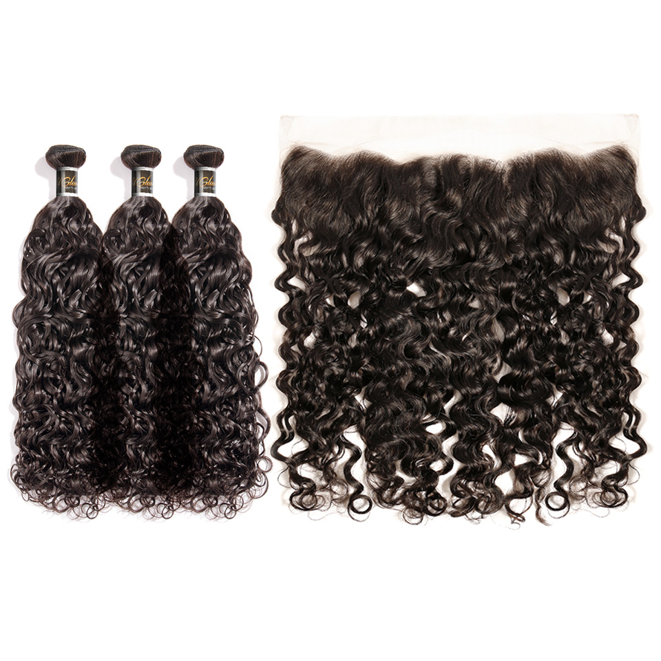 Uglam 13x4 Lace Front Closure With Bundles Water Wave Hair Sexy Formula
