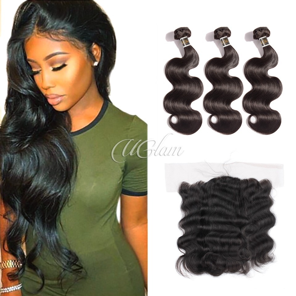 Uglam Hair 4x13 Lace Front Closure With Bundles Brazilian Body Wave Sexy Formula