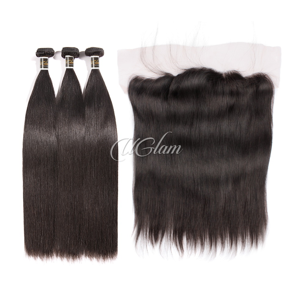 Uglam Hair 4x13 Lace Front Closure With Bundles Malaysian Straight Sexy Formula