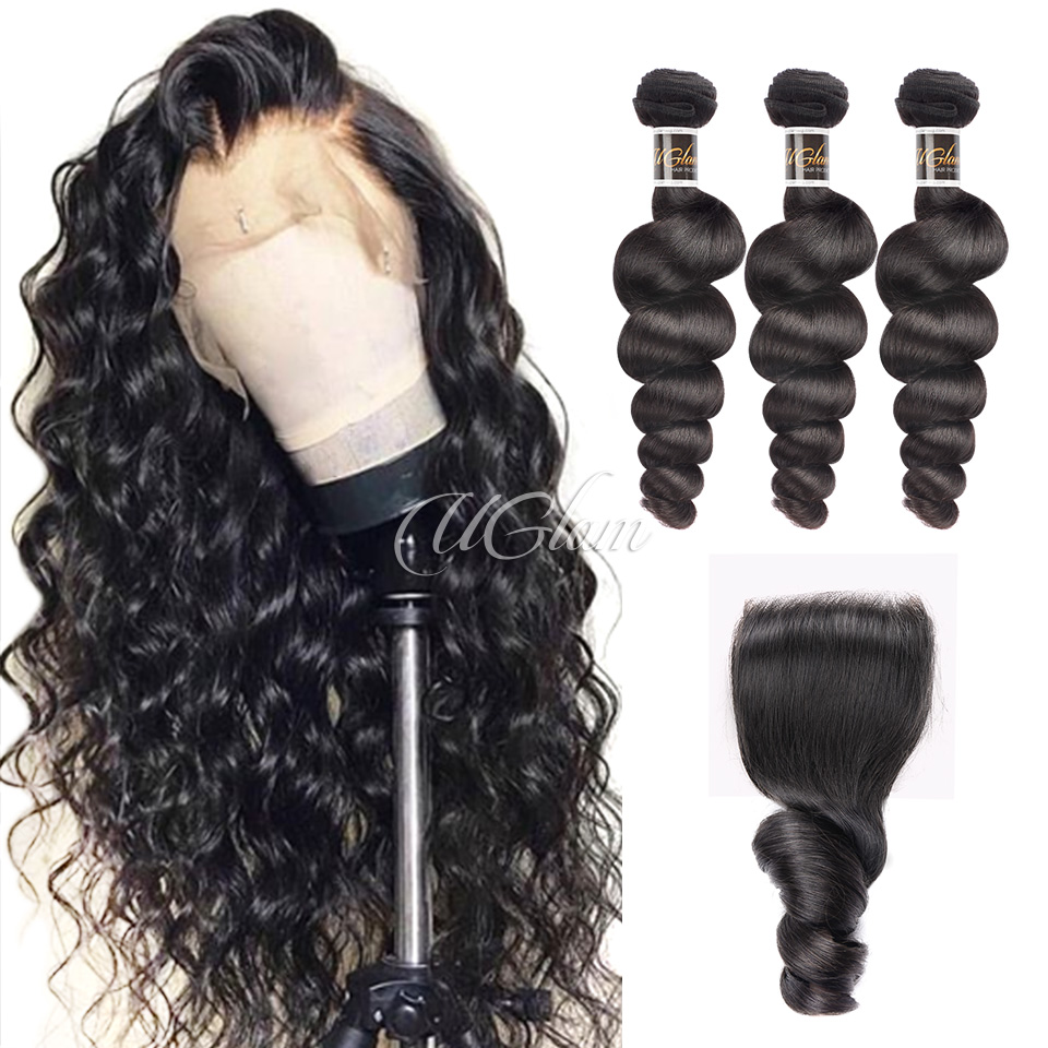 Uglam Hair 4x4 Lace Closure With Bundles Malaysian Loose Wave Sexy Formula