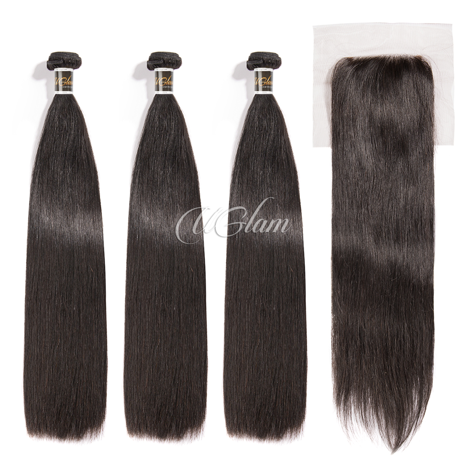 Uglam Hair 4x4 Lace Closure With Bundles Brazilian Straight Sexy Formula