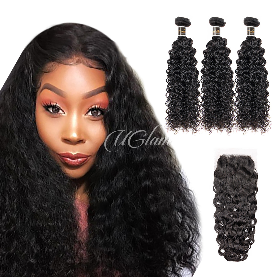 Uglam Hair 4x4 Lace Closure With Bundles Water Wave Sexy Formula