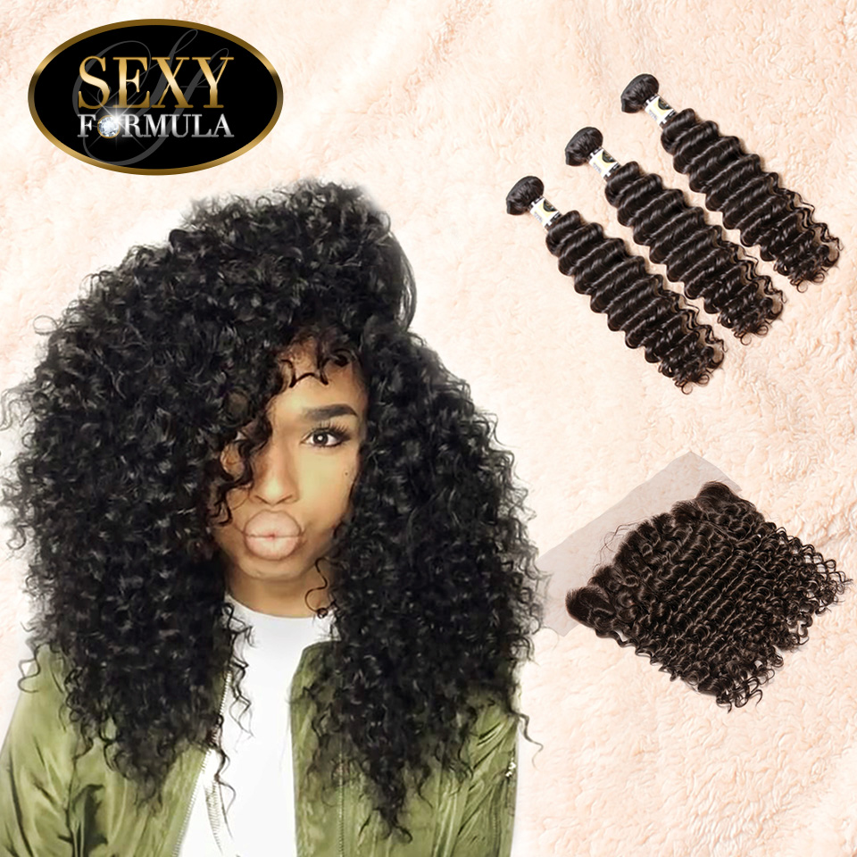 Uglam Hair 4x13 Lace Front Closure With Bundles Indian Deep Wave Curly Sexy Formula
