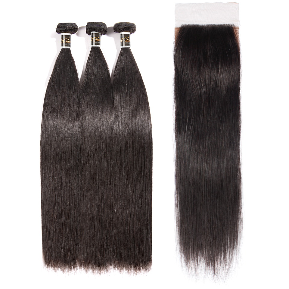 Uglam Hair 4x4 Silk Base Closure With Bundles Peruvian Straight Sexy Formula